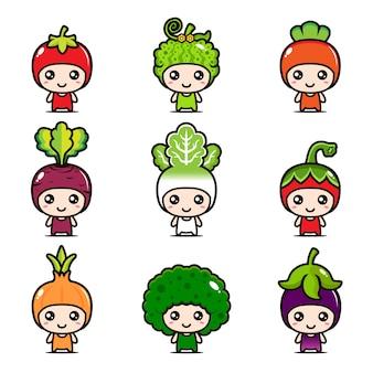 Овощной талисман векторный дизайн набор