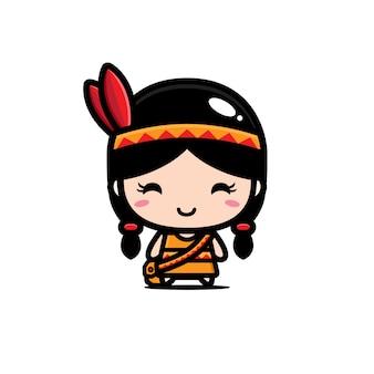 かわいいインド系アメリカ人の女の子キャラクターデザイン