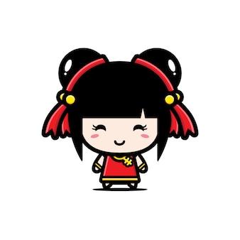 かわいい中国の女の子キャラクターのデザイン