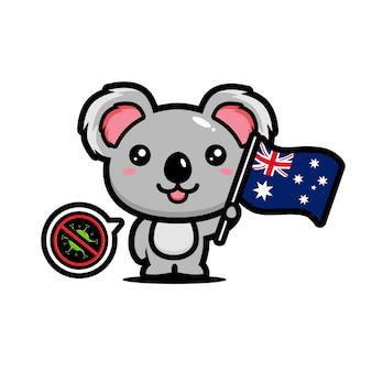 コアラはコロナウイルスを禁止するオーストラリアの旗を掲げています