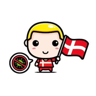 ウイルスに対するフラグを持つデンマークの少年