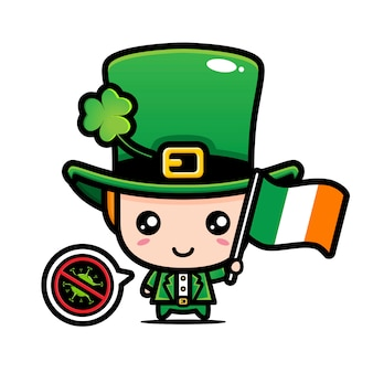 Ирландский мальчик с флагом против вируса