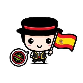 Испанский мальчик с флагом против вируса