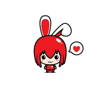 かわいい赤い女の子ベクターデザイン