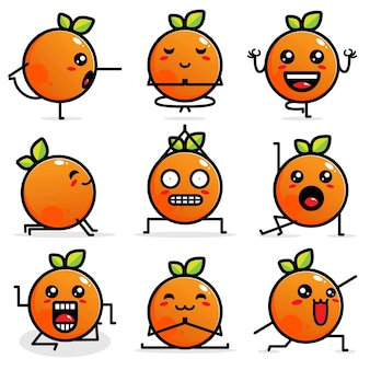 かわいいオレンジ色のベクトルデザインのセット
