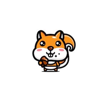 かわいい赤ちゃんリスのキャラクター