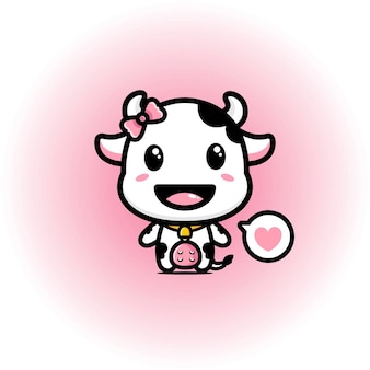 かわいい牛のマスコットデザイン