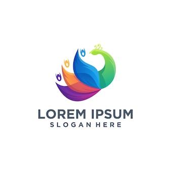 Абстрактный шаблон логотипа павлина