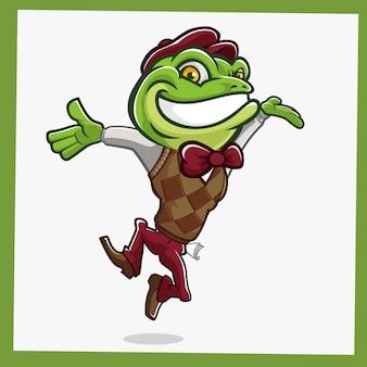 ヒキガエルのカエルのマスコットキャラクター
