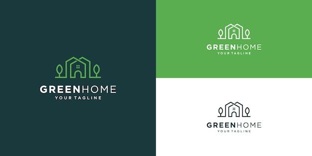 グリーンハウスのロゴ不動産テンプレート。環境に優しい建物のシンプルなアウトライン記号。