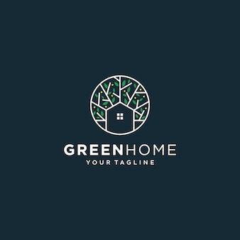 Зеленый дом логотип шаблон недвижимости. минималистичный контур символ для экологически чистых зданий.