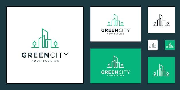 緑豊かな街のロゴデザインテンプレートの建物。環境に優しい建物のシンプルなアウトライン記号。