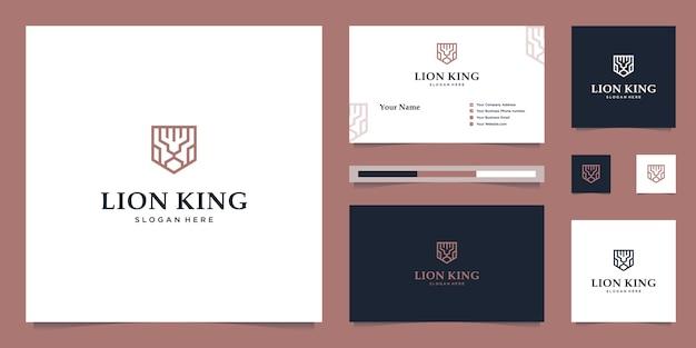 Элегантный королевский лев со стильным графическим дизайном и визитной карточкой вдохновляет роскошный дизайн логотипа