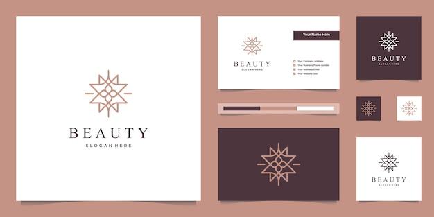 Элегантные абстрактные цветы, вдохновляющие красоту, йогу и спа. дизайн логотипа и визитки
