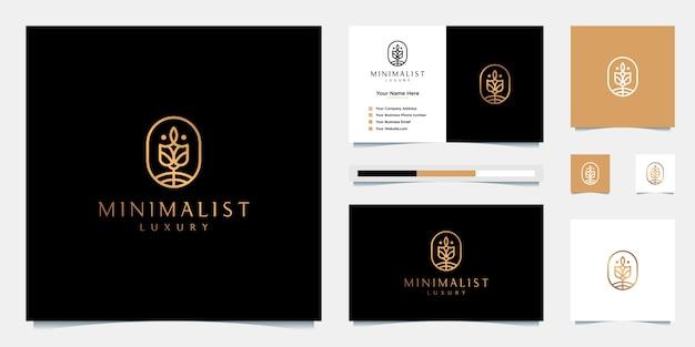 エレガントな花のデザインのロゴ。化粧品、美容室、スパ、スキンケアに使用できます。プレミアムロゴデザインと名刺。