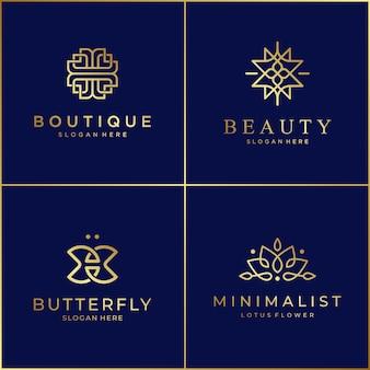 ビューティーサロン、スキンケア、ブティック、化粧品、ヨガ、スパの豪華なラインデザインロゴの優雅なシンボル。