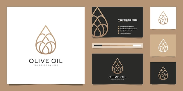 オリーブオイルの液滴ラインアート、美容室、スキンケア、化粧品、ヨガ、スパ製品のシンボル