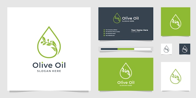 オリーブオイルの液滴と木の枝、美容室、スキンケア、化粧品、ヨガ、スパ製品のシンボル。