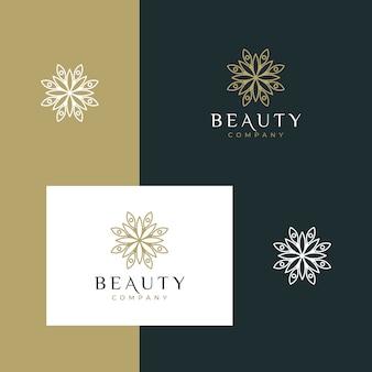 シンプルなアウトラインスタイルのエレガントなミニマリストの美花ロゴデザイン