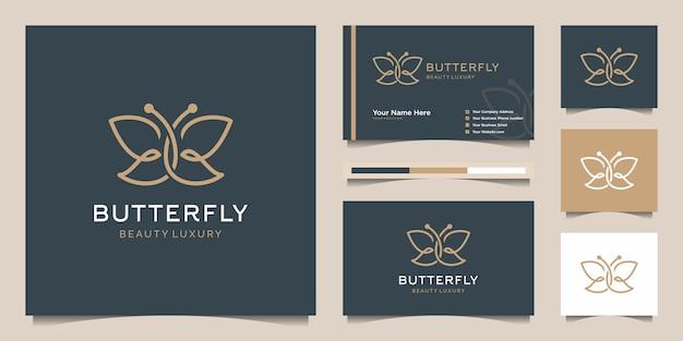 蝶のシンボル。ミニマリストのラインアートのロゴデザインと名刺。