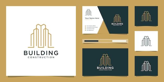 線のスタイルを持つ建物のデザインロゴ。建設、アパート、建築家のシンボル。プレミアムロゴデザインと名刺。