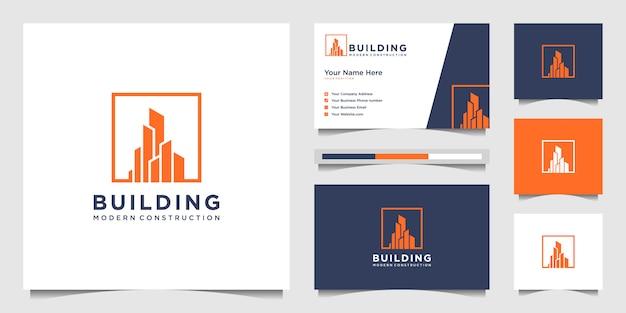 ロゴをデザインし、建物建設の名刺を作成し、都市の建物の抽象的なロゴを刺激する