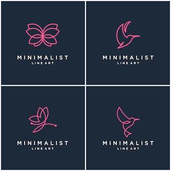 ミニマリストの動物ロゴデザインライン、蝶、ハチドリのコレクション。抽象的なデザインのロゴ。