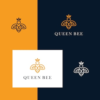 シンプルなラインデザインスタイルで蜂と王冠のデザインロゴをインスパイア