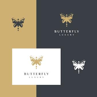 シンプルなエレガントな蝶プレミアムシルエットロゴデザイン