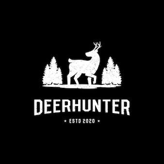 Винтажный ретро логотип охотника на оленей