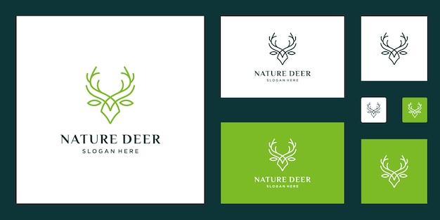 感動的な鹿と葉のロゴ