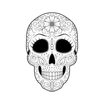 詳細な花飾りの死んだ砂糖頭蓋骨の日。