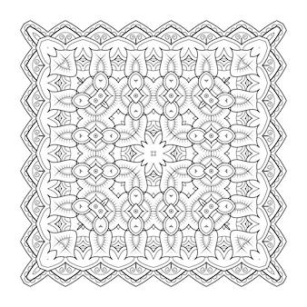 正方形の模様のデザイン。オリジナルのオリエンタルデザイン。白黒イラストベクトル