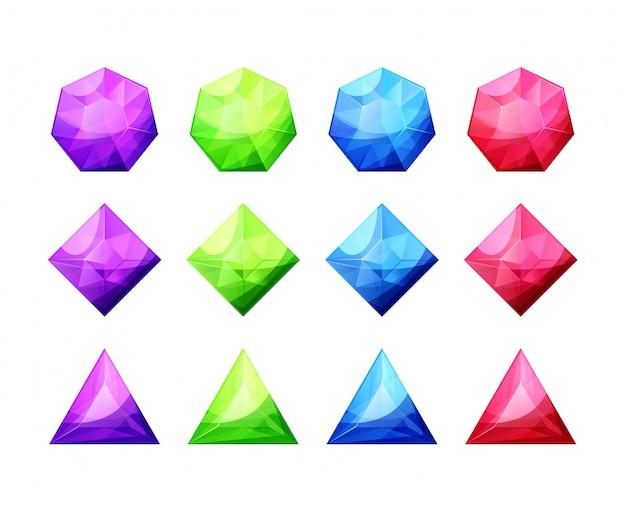 さまざまな形の結晶、宝石、ダイヤモンドのセット。詳細なカラフルな宝石アイコン