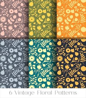 花のシームレスパターンセット