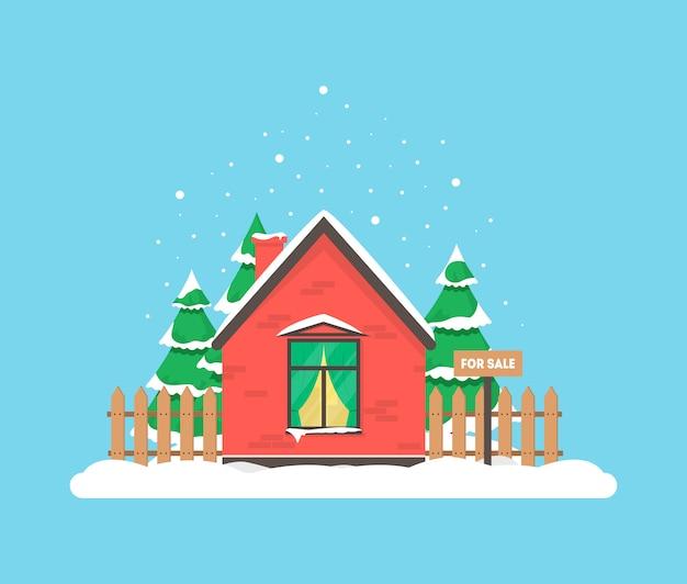 家のある冬景色