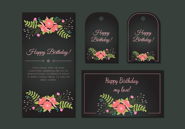 かわいいビンテージ花カードセット