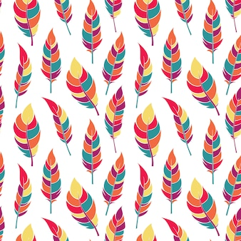 カラフルな平らな羽のシームレスパターン