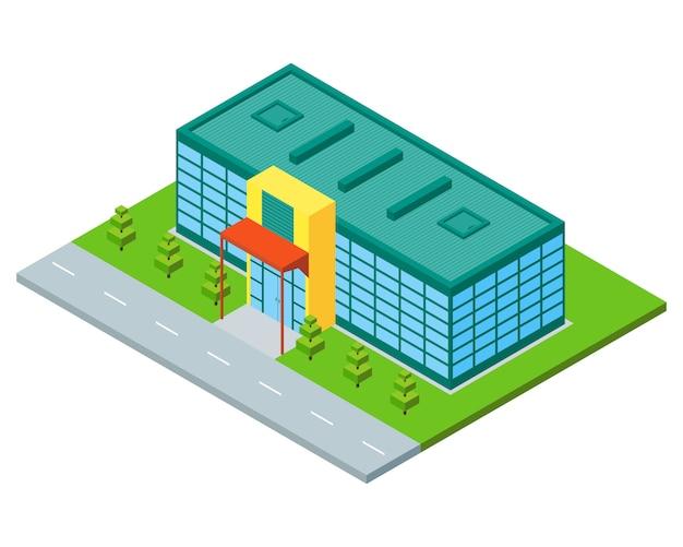 Изометрические город здание супермаркета, магазина или торгового центра.