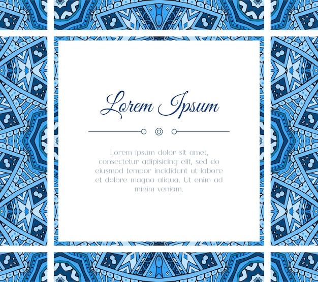 カラフルなオリエンタルブルーデザインのグリーティングカード。休日や招待状のテキストテンプレートのフレーム