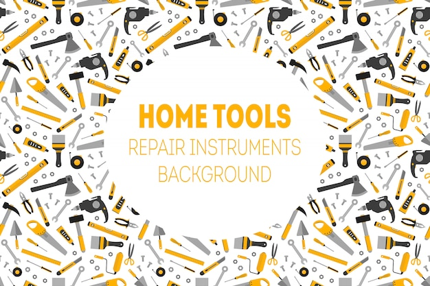 Плоские рабочие дома инструменты фон