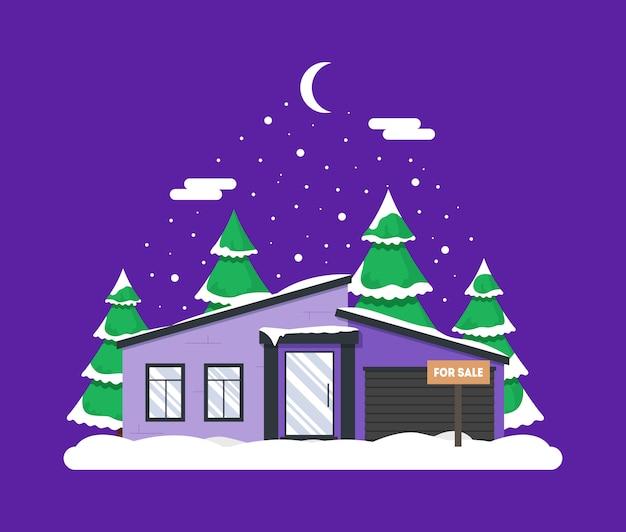 家と森の冬の夜景。クリスマスの装飾