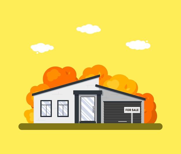 木造住宅の外観と平らな秋の風景