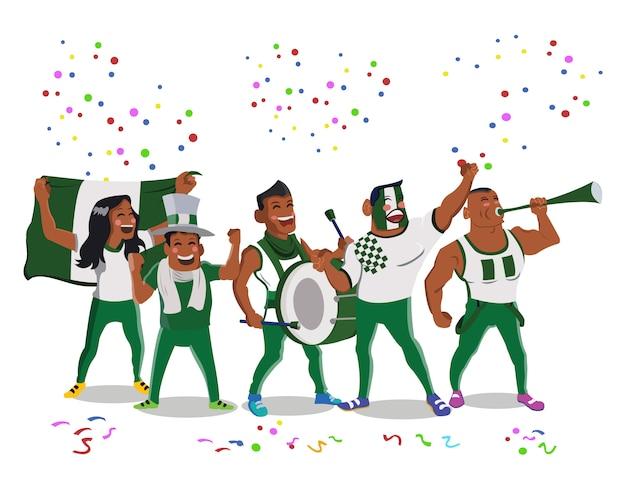 Веселые футбольные болельщики сборной нигерии