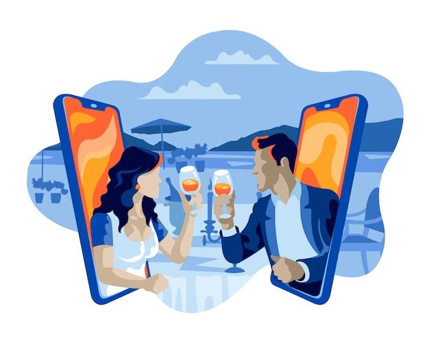 男性と女性のトーストワインオンラインデート