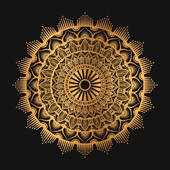 Арабеская геометрическая мандала в золотистом цвете