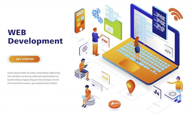 Веб-разработка современного плоского дизайна изометрической концепции
