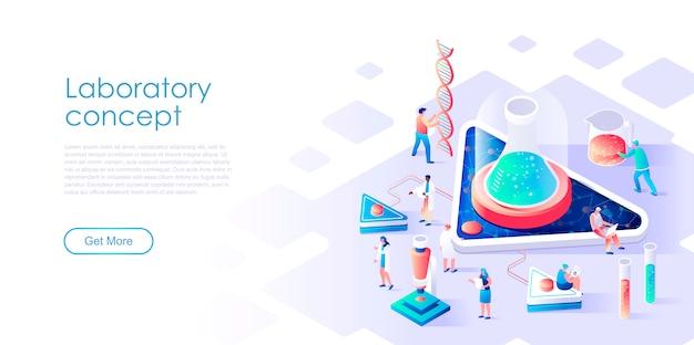 Изометрическая целевая страница исследовательской лаборатории или медицины плоской концепции