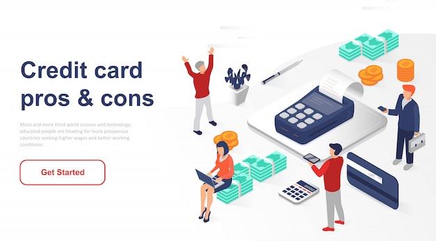 Изометрическая целевая страница банкомат или кредитная карта