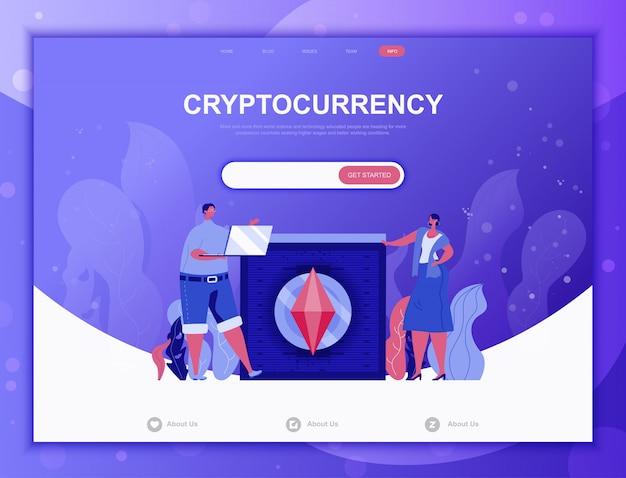 Криптовалюта обмен плоской концепции, веб-шаблон целевой страницы